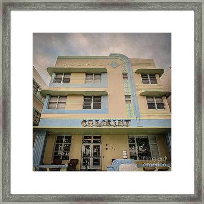 Crescent Hotel - Art Deco District - Sobe - South Beach Miami - Florida - Square Crop - Hdr Style Framed Print by Ian Monk