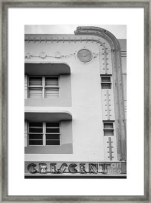 Crescent Hotel Detail - Art Deco District - Sobe - South Beach Miami - Florida - Black And White Framed Print by Ian Monk