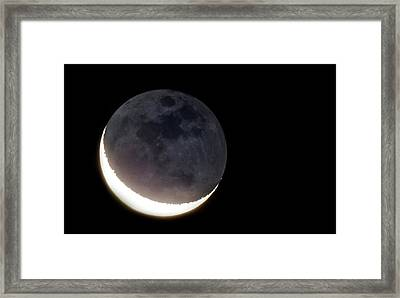Crescent Moon And Earthshine Framed Print by Babak Tafreshi
