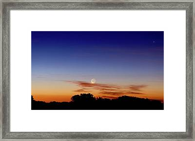 Crescent Moon And Jupiter Framed Print by Luis Argerich