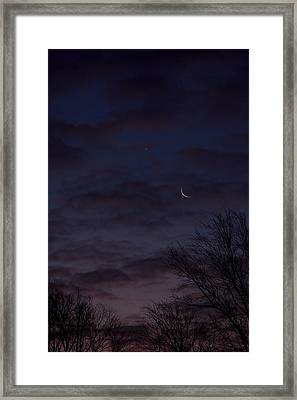 Crescent Moon And Venus Rising Framed Print