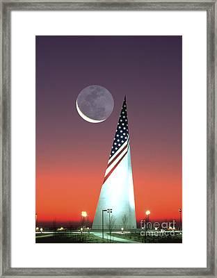 Crescent Moon At Bald Hill Ny Framed Print by Larry Landolfi