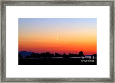 Crescent Moon At Sunset  - Lummi Bay Framed Print by Douglas Taylor