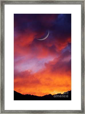 Framed Print featuring the photograph Crescent Moon In Purple by Joseph J Stevens