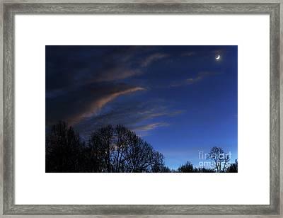 Crescent Moon Landscape Framed Print by Thomas R Fletcher