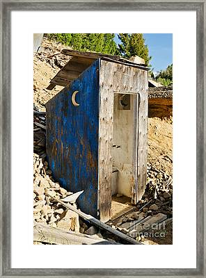 Framed Print featuring the photograph Crescent Moon Outhouse by Sue Smith