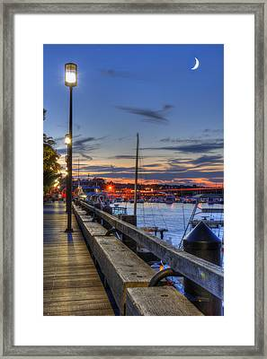 Crescent Moon Over Newburyport Harbor Framed Print by Joann Vitali