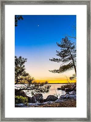 Crescent Moon Sunset Framed Print