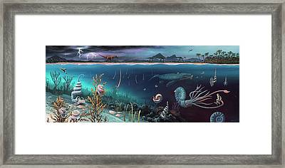 Cretaceous Land And Marine Life Framed Print