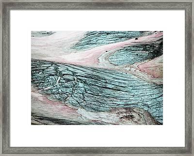 Crevassed Glacier With Pink Algae Framed Print by Peter J. Raymond