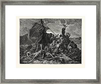 Crew Of The Medusa On The Raft Framed Print by English School