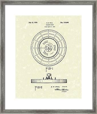 Cribbage Board 1938 Patent Art Framed Print by Prior Art Design