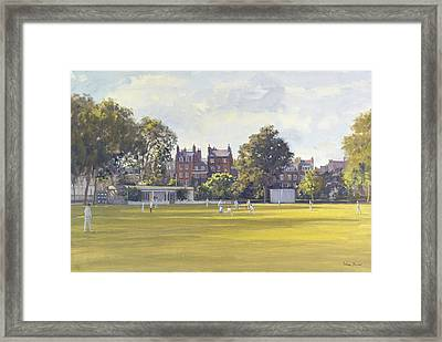 Cricket At Burton Court Oil On Canvas Framed Print by Julian Barrow