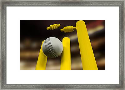 Cricket Ball Hitting Wickets Night Framed Print by Allan Swart