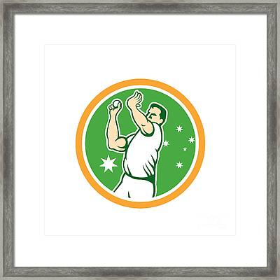 Cricket Fast Bowler Bowling Ball Circle Cartoon Framed Print by Aloysius Patrimonio