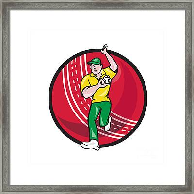 Cricket Fast Bowler Bowling Ball Front Cartoon Framed Print by Aloysius Patrimonio