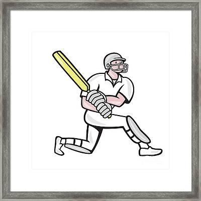 Cricket Player Batsman Batting Kneel Cartoon Framed Print by Aloysius Patrimonio