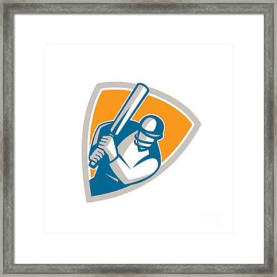 Cricket Player Batsman Batting Shield Retro Framed Print