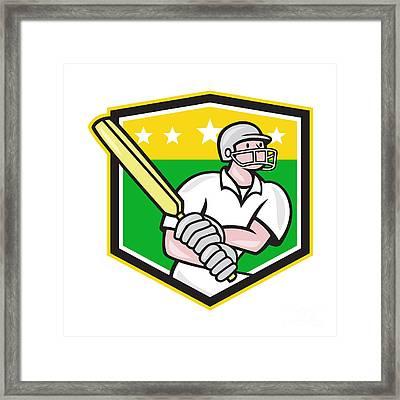 Cricket Player Batsman Batting Shield Star Framed Print