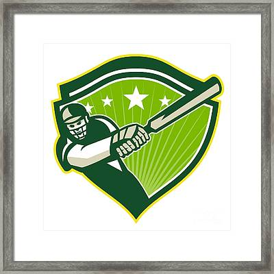 Cricket Player Batsman Star Crest Retro Framed Print by Aloysius Patrimonio