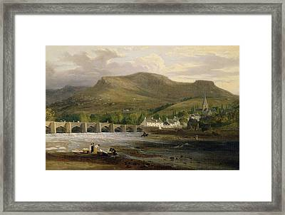 Crickhowell, Breconshire, C.1800 Oil On Canvas Framed Print by English School