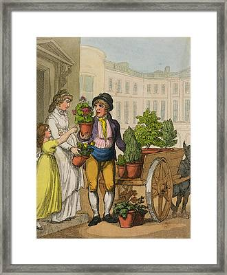 Cries Of London The Garden Pot Seller Framed Print by Thomas Rowlandson