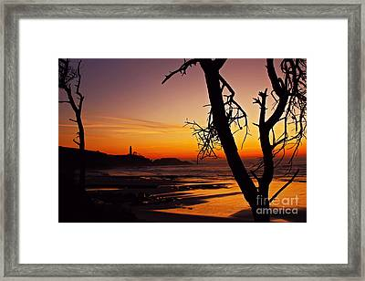 Crimson Dusk At Yaquina Head Sixty Five Framed Print by Donald Sewell