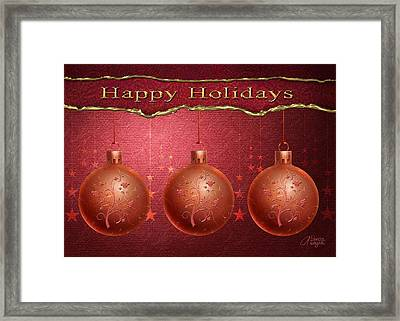 Framed Print featuring the digital art Crimson Ornaments by Arline Wagner
