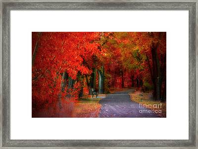 Crimson Shades Of Autumn Framed Print