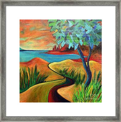 Crimson Shore Framed Print