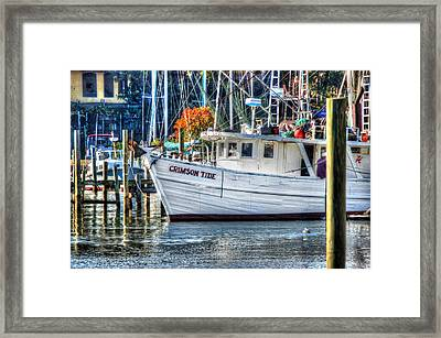 Crimson Tide In Harbor Framed Print