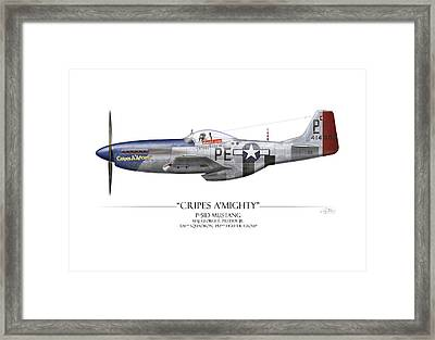 Cripes A Mighty P-51 Mustang - White Background Framed Print by Craig Tinder