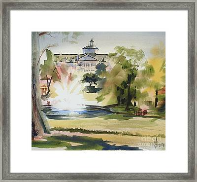 Crisp Water Fountain At The Baptist Home IIi Framed Print
