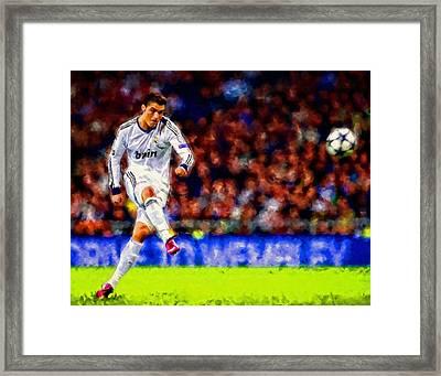 Cristiano Ronaldo Soccer Football Art Painting Landscape Framed Print by Andres Ramos