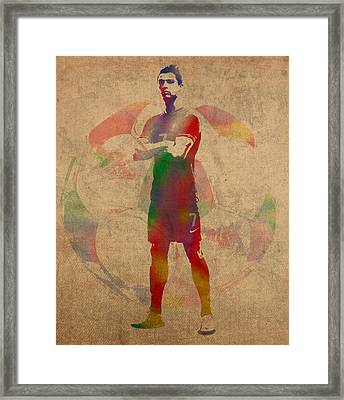 Cristiano Ronaldo Soccer Football Player Portugal Real Madrid Watercolor Painting On Worn Canvas Framed Print