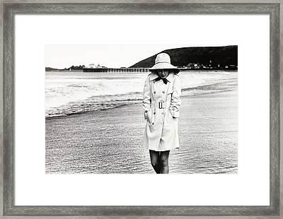 Cristina Ferrare Wearing A Misty Harbor Raincoat Framed Print
