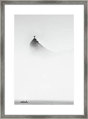Cristo In The Mist Framed Print