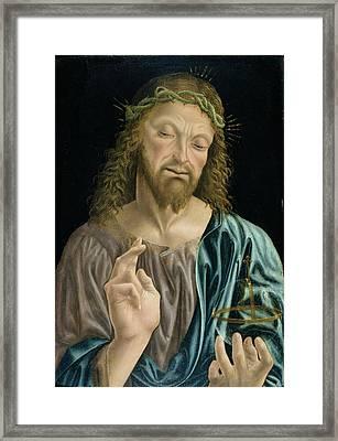 Cristo Salvator Mundi, C.1490-94 Framed Print by Master of the Pala Sforzesca