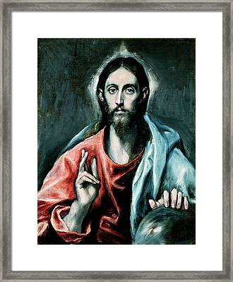 Cristo Salvator Mundi Framed Print by El Greco