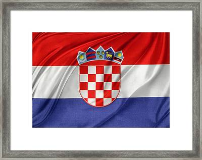 Croatian Flag Framed Print by Les Cunliffe