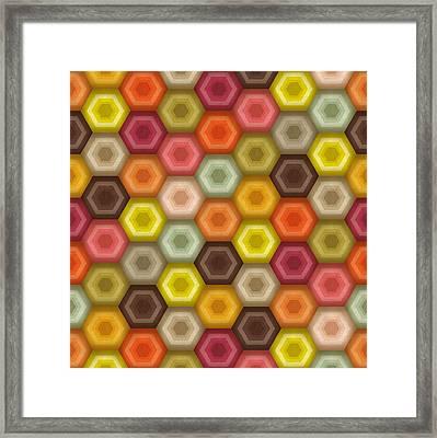 Crochet Honeycomb Retro Framed Print by Sharon Turner
