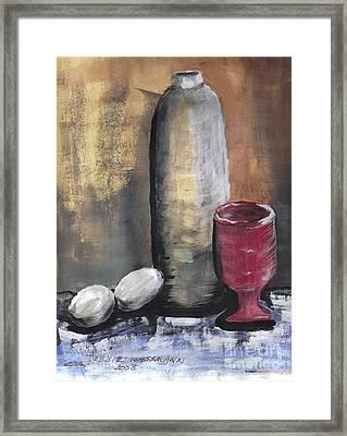 Crock Glass And Eggs Framed Print by Debbie Wassmann