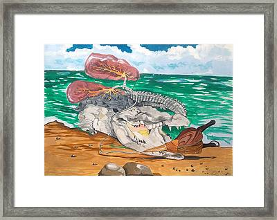 Framed Print featuring the painting Crocodile Emphysema by Lazaro Hurtado