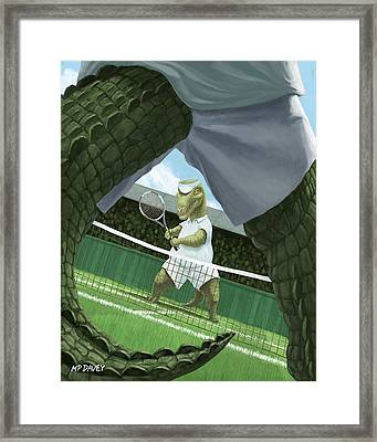 Crocodiles Playing Tennis At Wimbledon  Framed Print by Martin Davey