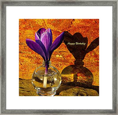 Crocus Floral Birthday Card Framed Print by Chris Berry
