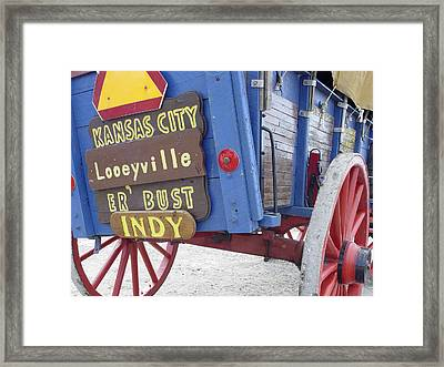 Crooked Blue Wagon Framed Print