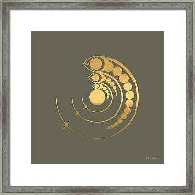 Crop Circle Formation Near Avebury Stone Circle In Wiltshire England In Gold Framed Print