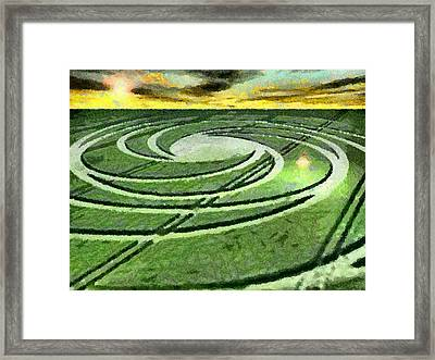 Crop Circles In Field Framed Print