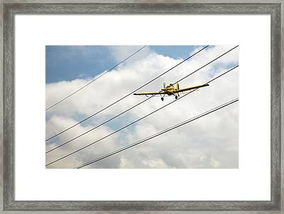 Crop Duster And Electricity Power Lines Framed Print