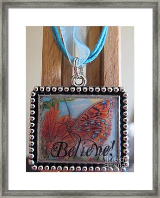 Believe...a Colorful Butterfly Lights Upon A Tiger Lily In A Necklace Framed Print by Kimberlee Baxter